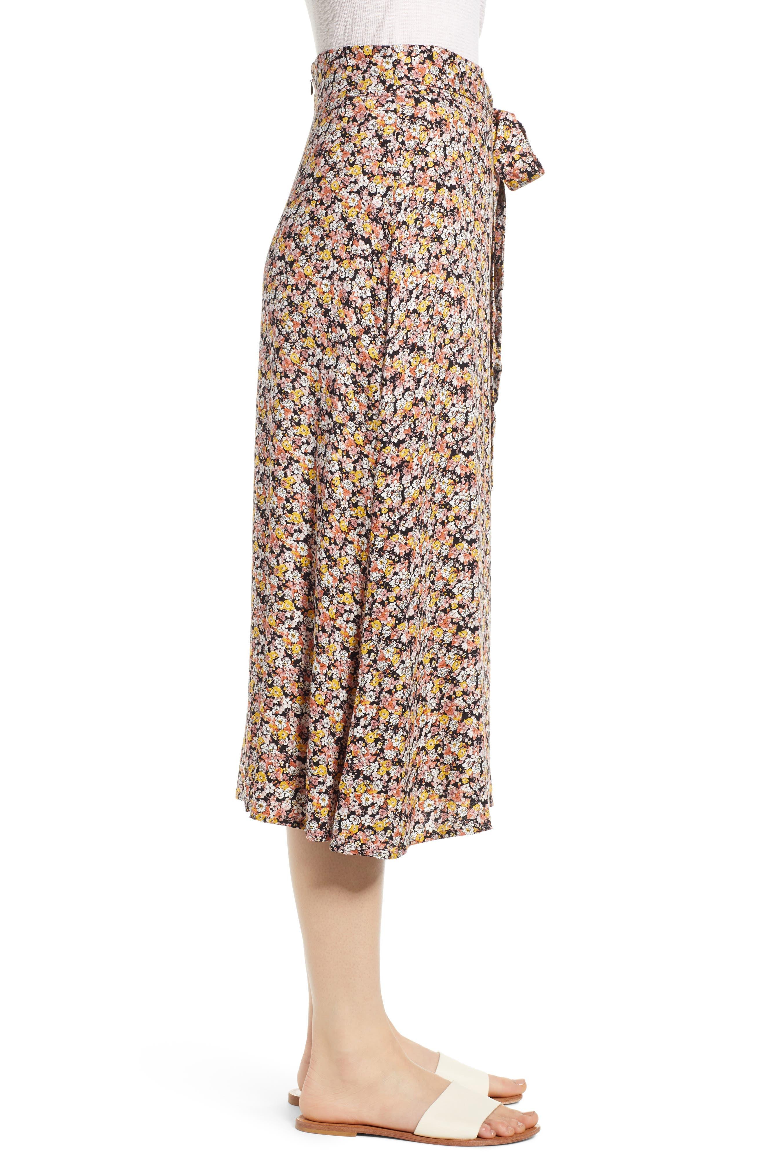 ,                             Tie Waist Floral Print Midi Skirt,                             Alternate thumbnail 3, color,                             BLACK DITSY FLORAL