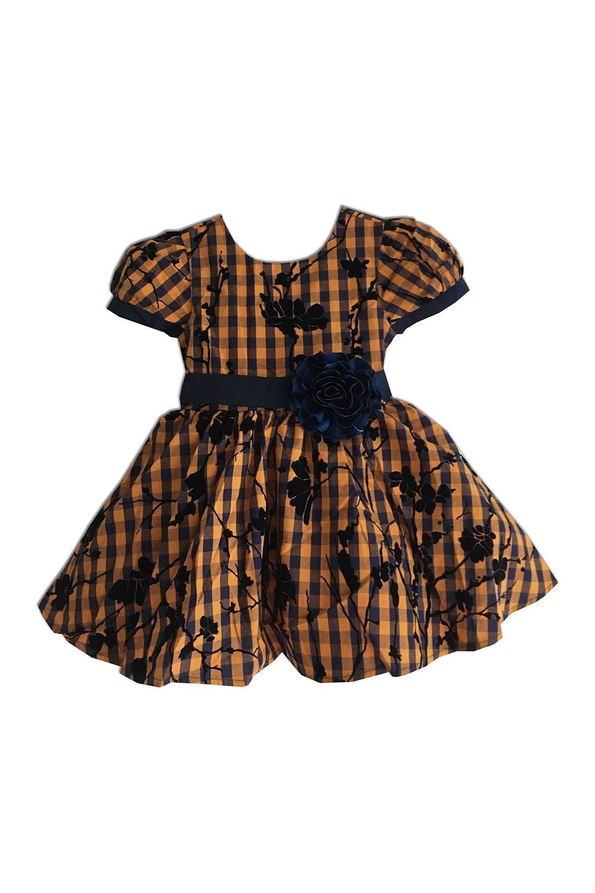 Image of Joe-Ella Brianne Flocked Gingham Dress