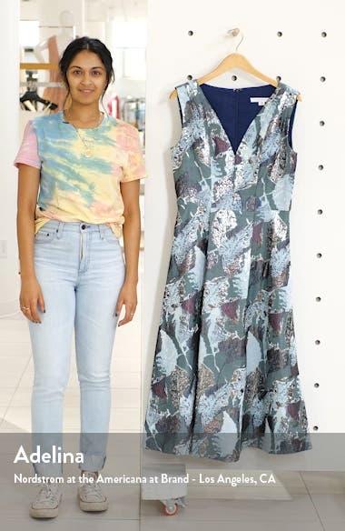 Sleeveless Metallic Jacquard A-Line Cocktail Dress, sales video thumbnail