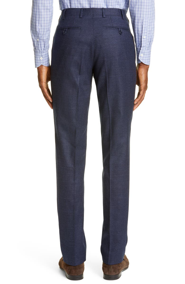 CANALI Flat Front Solid Stretch Wool & Cotton Dress Pants, Main, color, BLUE