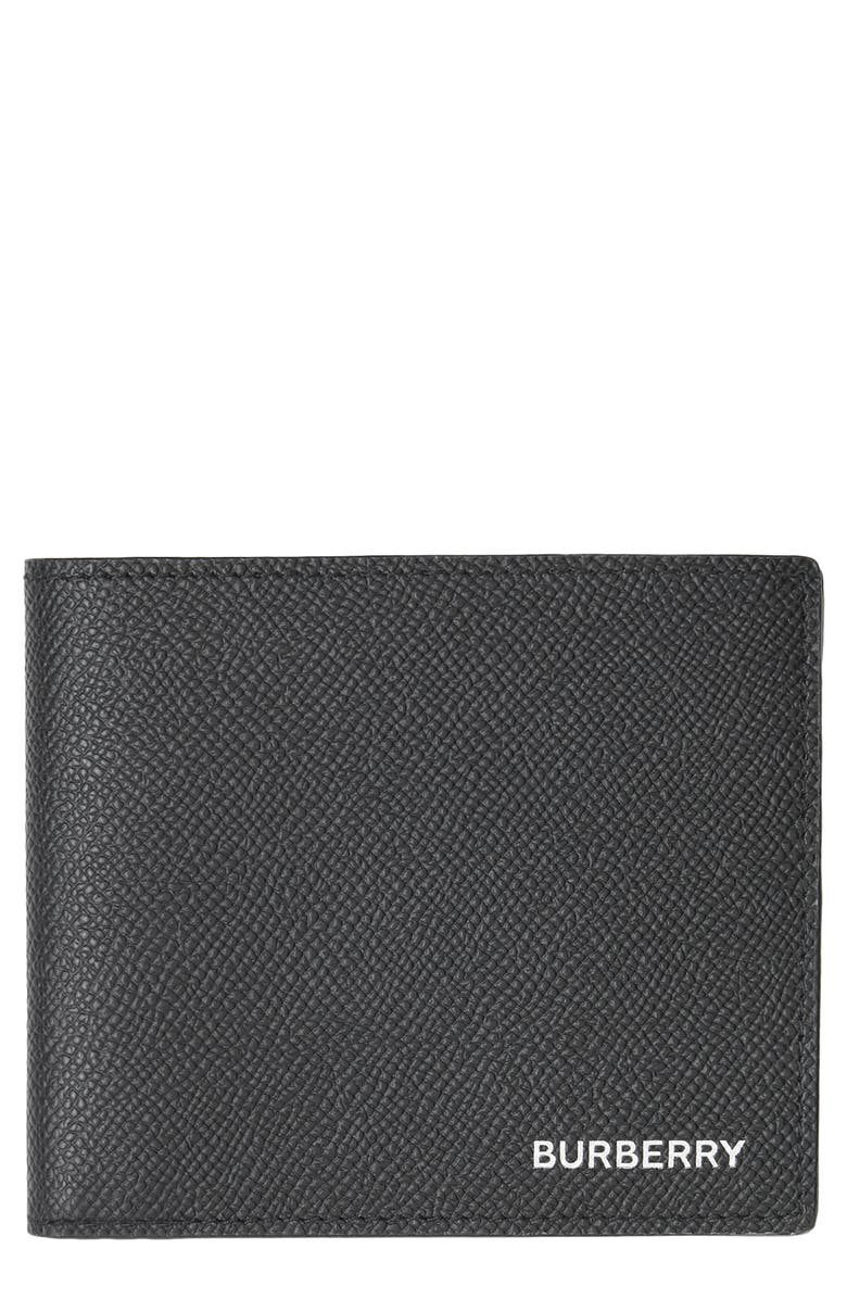 BURBERRY Leather International Wallet, Main, color, BLACK