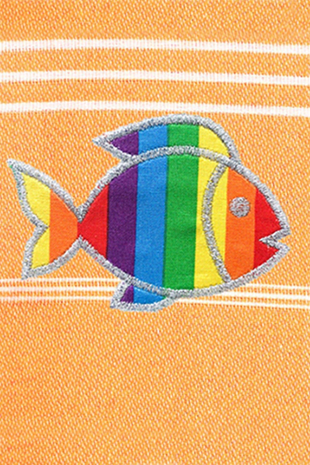 Image of LINUM HOME 100% Turkish Cotton Lucky Sparkling Rainbow Fish Pestemal Beach Towel - Melon Orange