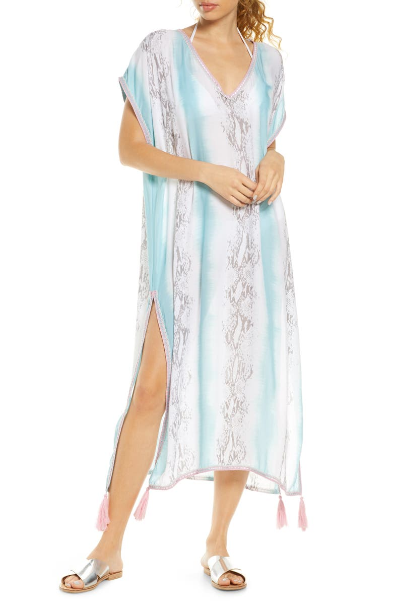 SURF GYPSY Tie Dye Cover-Up Caftan, Main, color, SNAKE SKIN