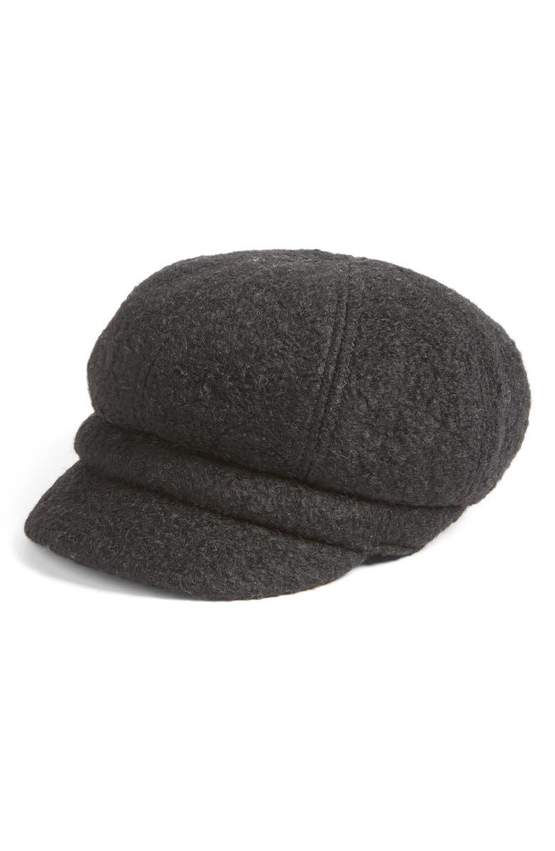 AUGUST HAT Boys are Back Bouclé Newsboy Cap, Main, color, 001
