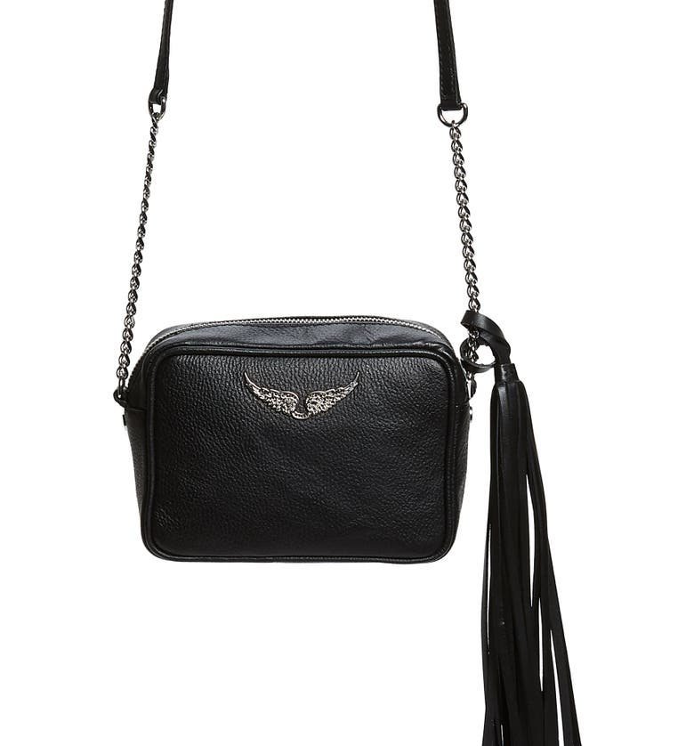 ZADIG & VOLTAIRE Boxy Extra Small Tassel Leather Crossbody Bag, Main, color, NOIR