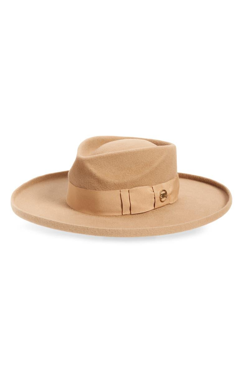 GLADYS TAMEZ Arch Fur Felt Wide Brim Hat, Main, color, CAMEL