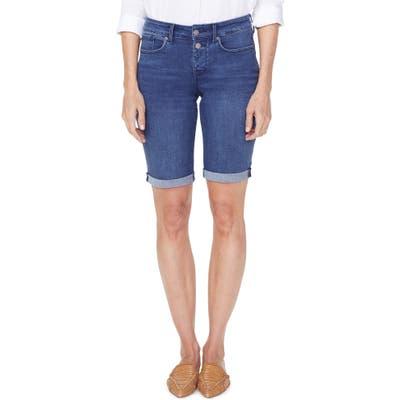 Petite Nydj Briella High Waist Two-Button Roll Cuff Denim Shorts, Blue
