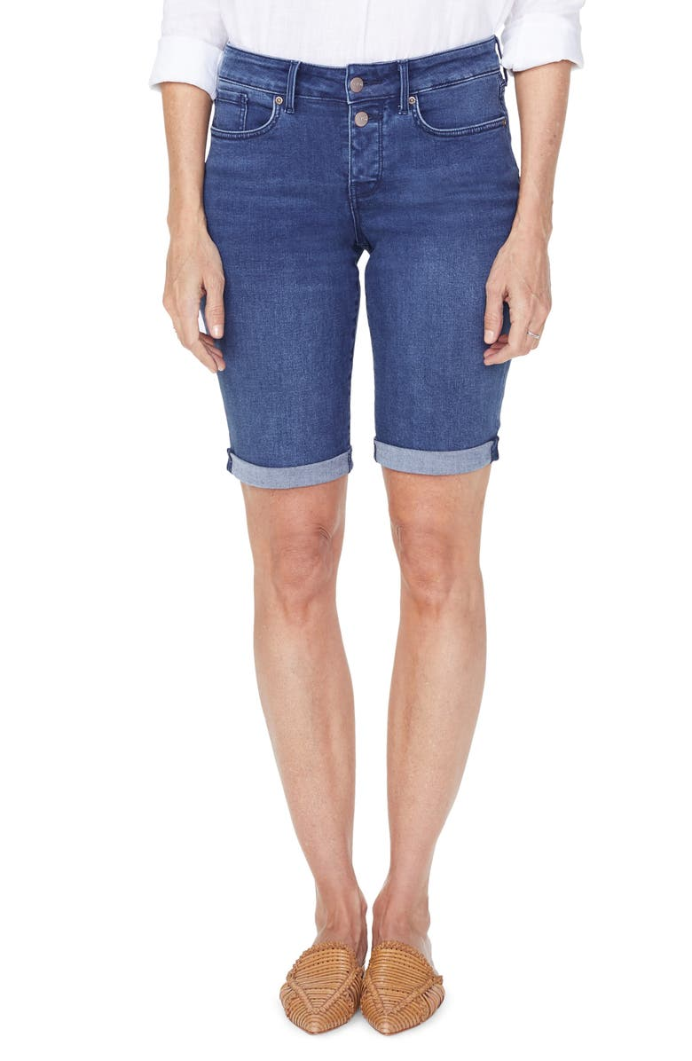 NYDJ Briella High Waist Two-Button Roll Cuff Denim Shorts, Main, color, NEVIN