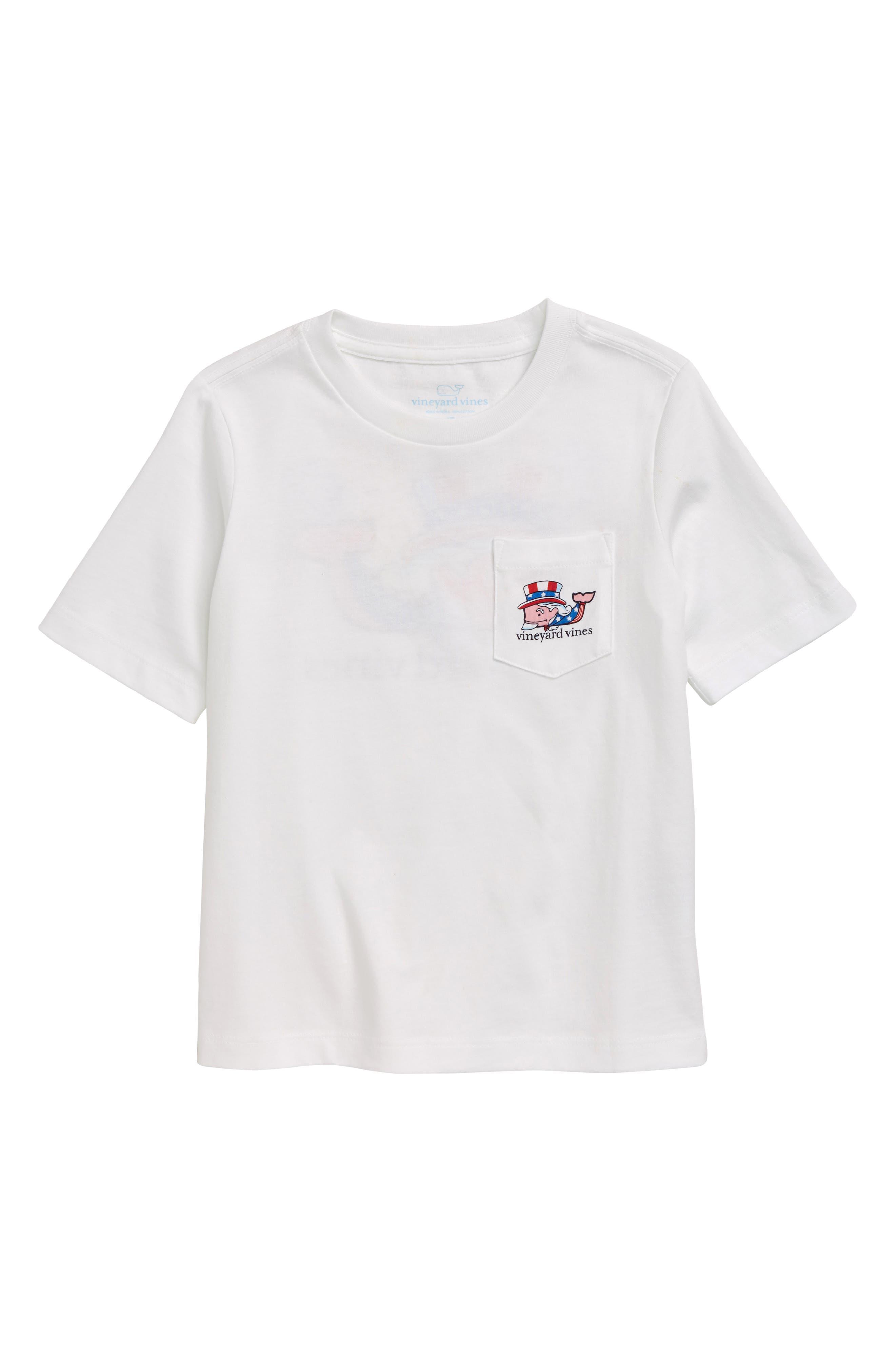Toddler Boys Vineyard Vines Uncle Sam Whale Pocket TShirt Size 4T  White