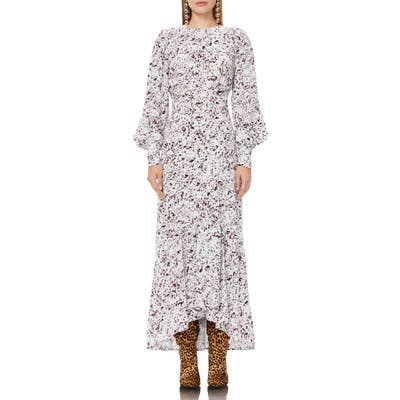 Afrm Ziggy Print Long Sleeve High/low Maxi Dress, White