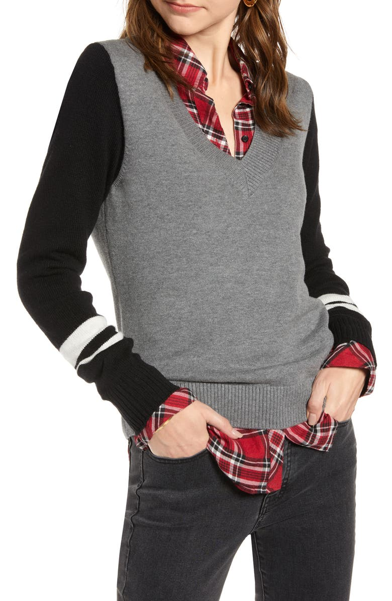 TREASURE & BOND Stripe V-Neck Sweater, Main, color, GREY- NAVY COMBO