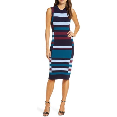 Petite Vince Camuto Colorblock Sweater Dress, Blue