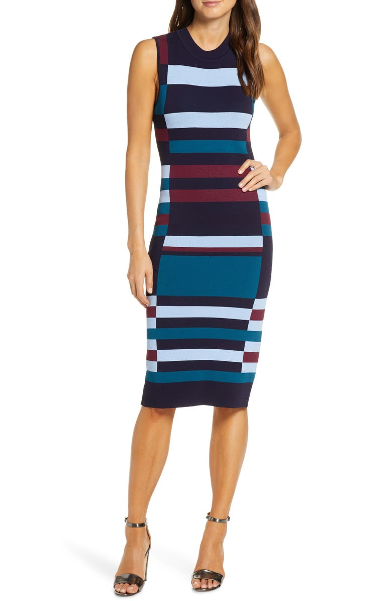 VINCE CAMUTO Colorblock Sweater Dress, Main, color, NAVY