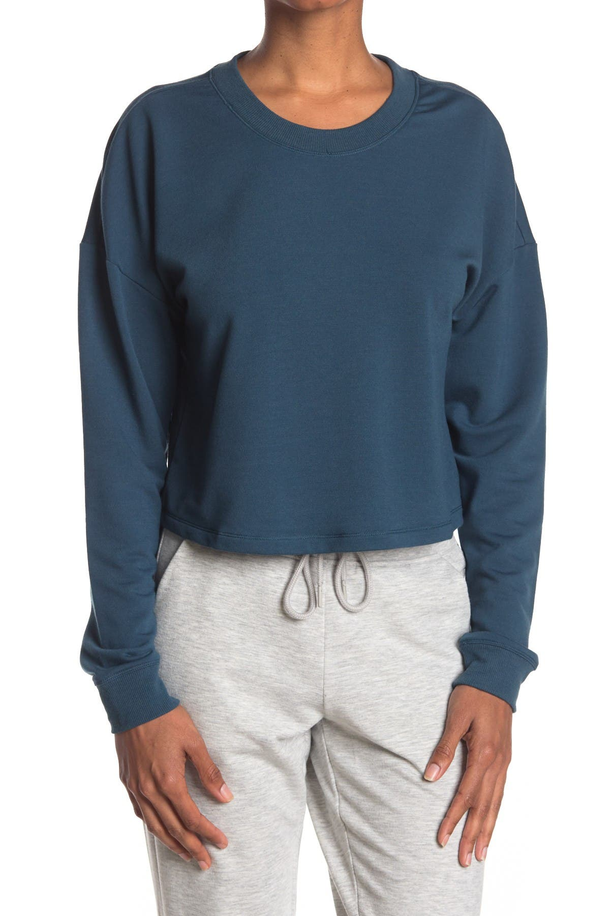Image of 90 Degree By Reflex Terry Brushed Solid Cropped Sweatshirt