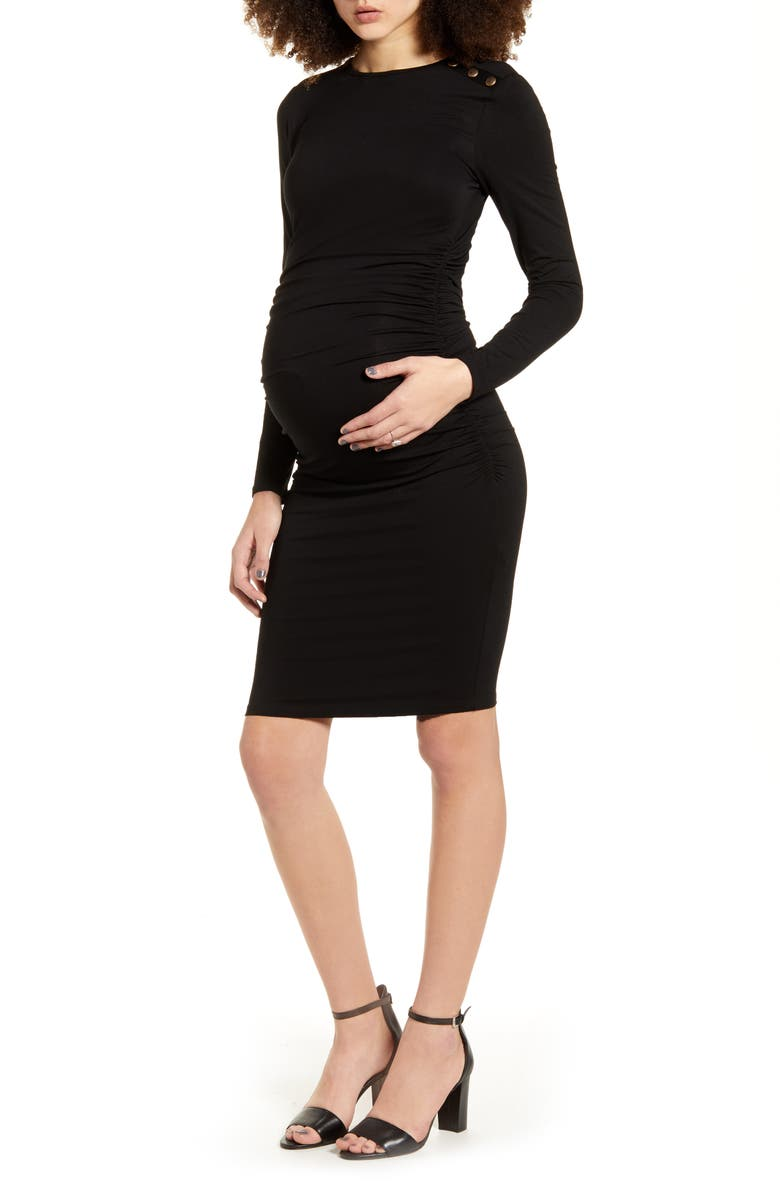 ISABELLA OLIVER Simona Ruched Long Sleeve Maternity Dress, Main, color, 001