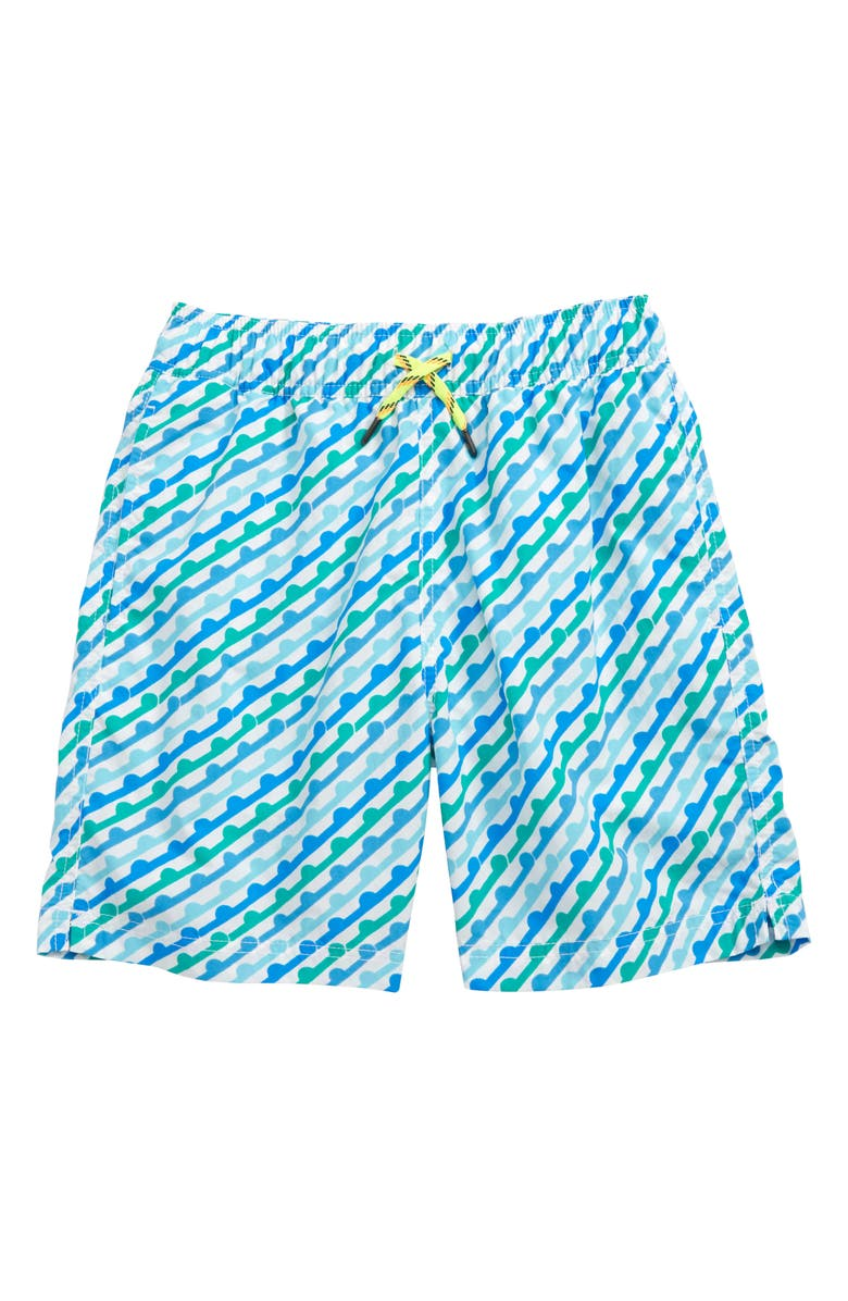 CREWCUTS BY J.CREW Blip Stripe Swim Trunks, Main, color, BLIP STRIPE BLUE MULTI