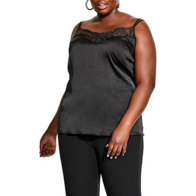 Plus Size City Chic Flaunt It Satin Cami, Black