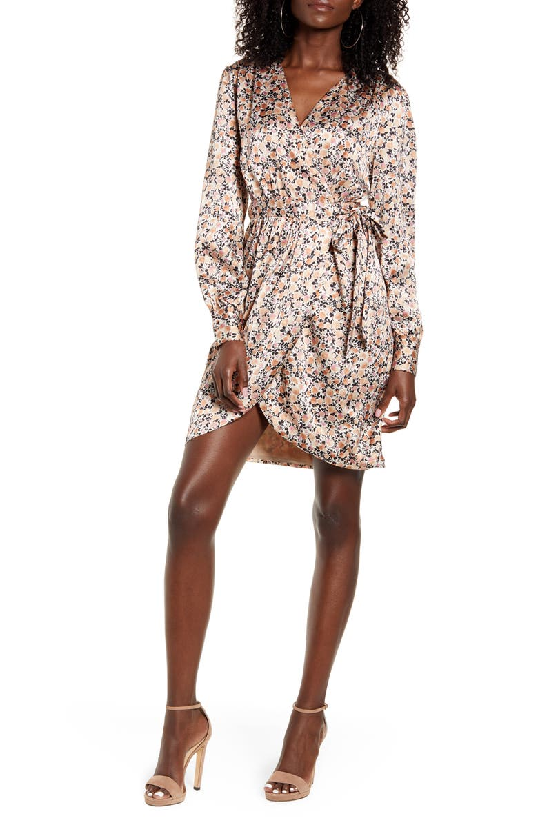 LEITH Floral Ditsy Long Sleeve Satin Wrap Dress, Main, color, IVORY- PINK SMOKE DITSY FLORAL