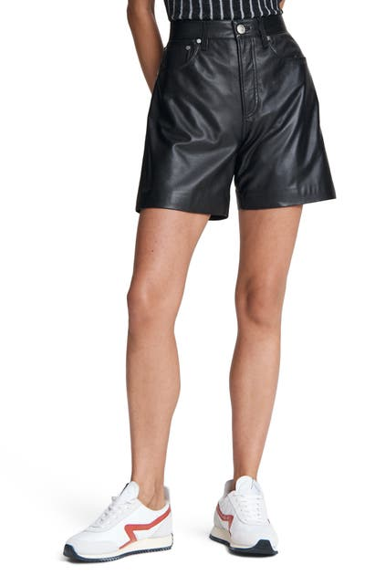 Rag & Bone Leathers SUPER HIGH WAIST LEATHER SHORTS