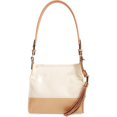 Sondra Roberts Colorblock Faux Leather Mini Hobo Bag - Beige