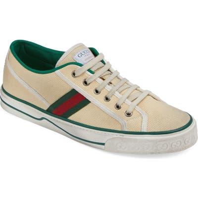 Gucci Web Canvas Low Top Sneaker, White