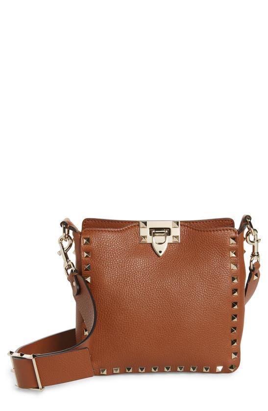 Valentino Garavani Rockstud Mini Vitello Stampa Leather Hobo Bag In Selleria