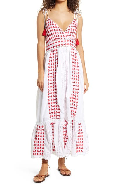 Area Stars Tia Embroidered Sundress In White Red