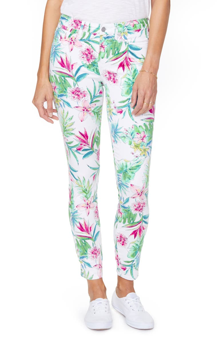NYDJ Alinan High Waist Floral Legging Ankle Jeans, Main, color, TROPICAL GARDEN WHITE