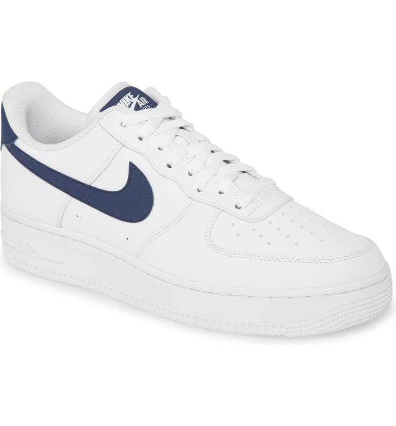 NIKE Air Force 1 '07 1 Sneaker, Main, color, WHITE/ MIDNIGHT NAVY