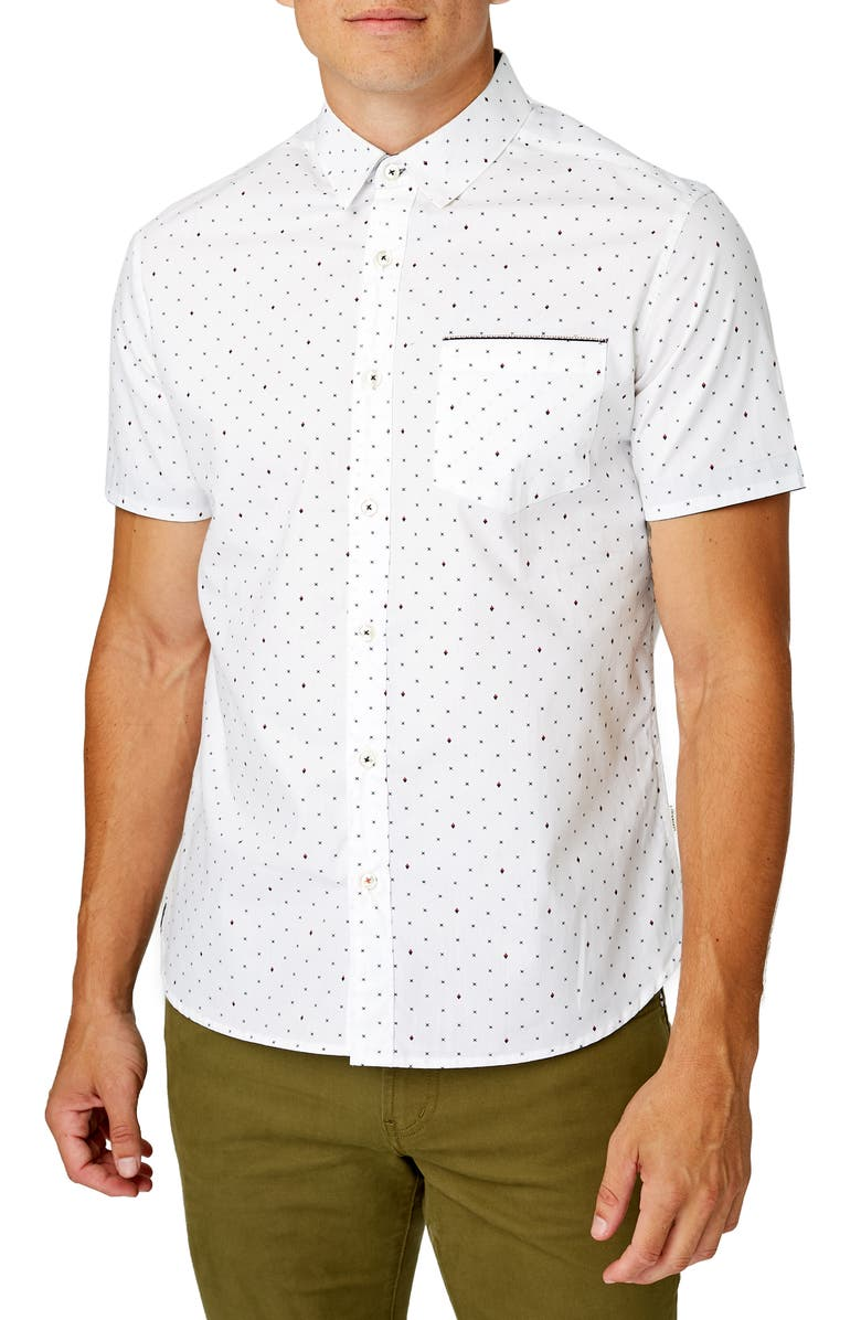 7 DIAMONDS Vision Quest Slim Fit Cotton Shirt, Main, color, OFF WHITE