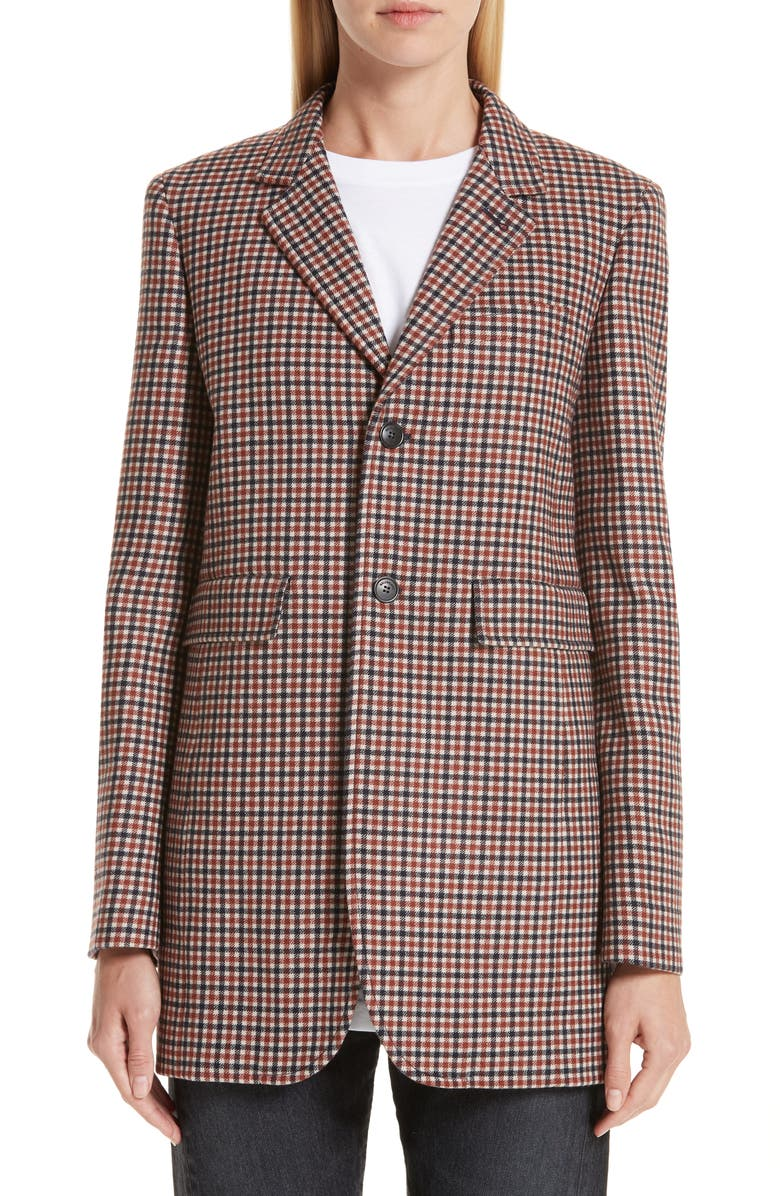 BALENCIAGA Check Stretch Wool Blazer, Main, color, 200