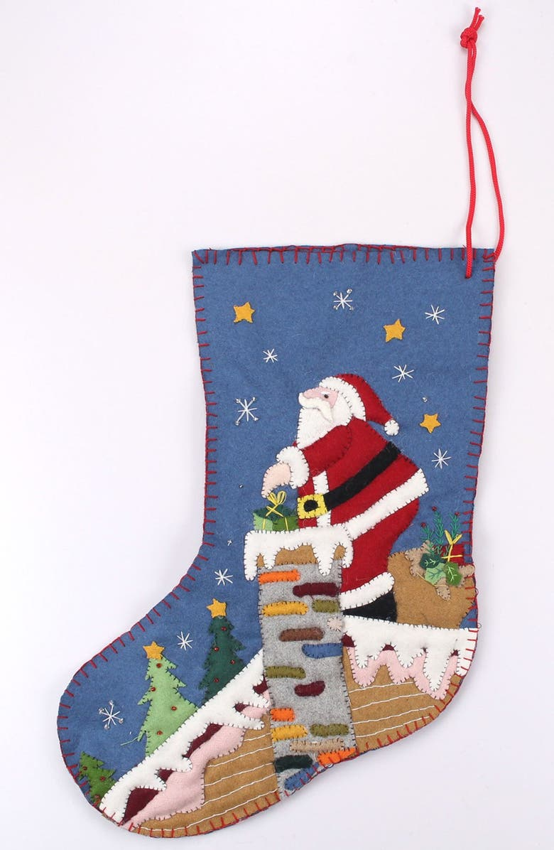 NEW WORLD ARTS Santa on Roof Stocking, Main, color, BLUE MULTI