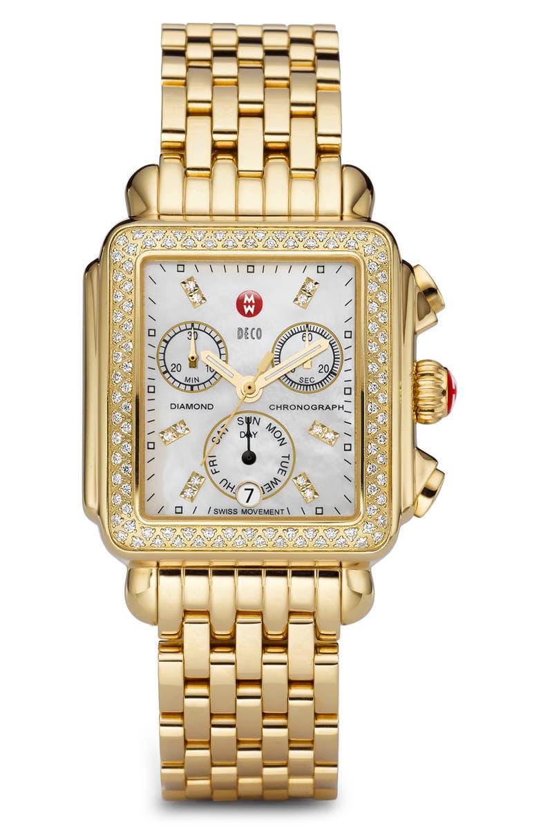 MICHELE Deco Diamond Chronograph Watch Head & Bracelet, 33mm, Main, color, GOLD/ MOP
