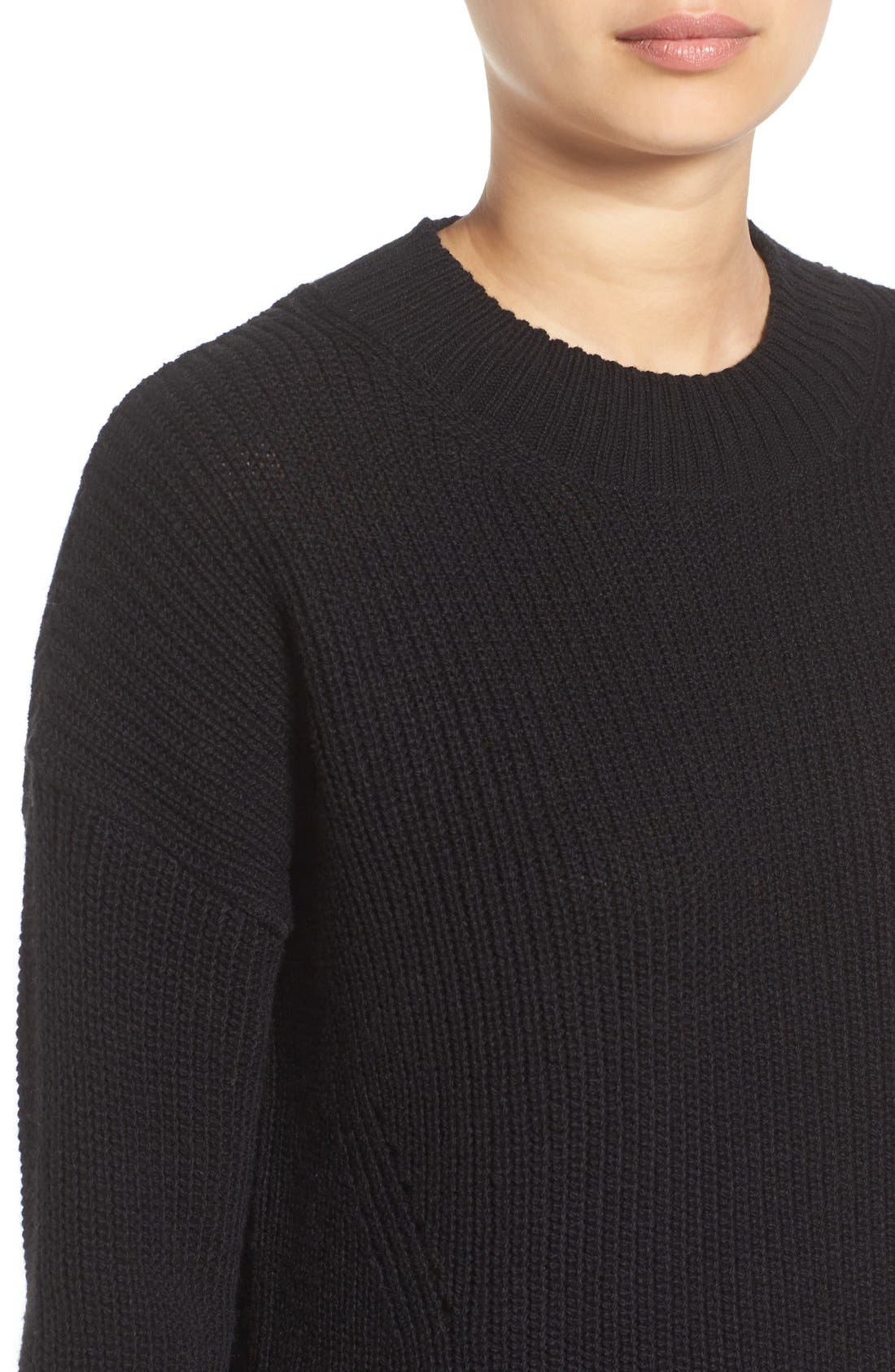 ,                             Ribbed Mock Neck Pullover,                             Alternate thumbnail 3, color,                             001