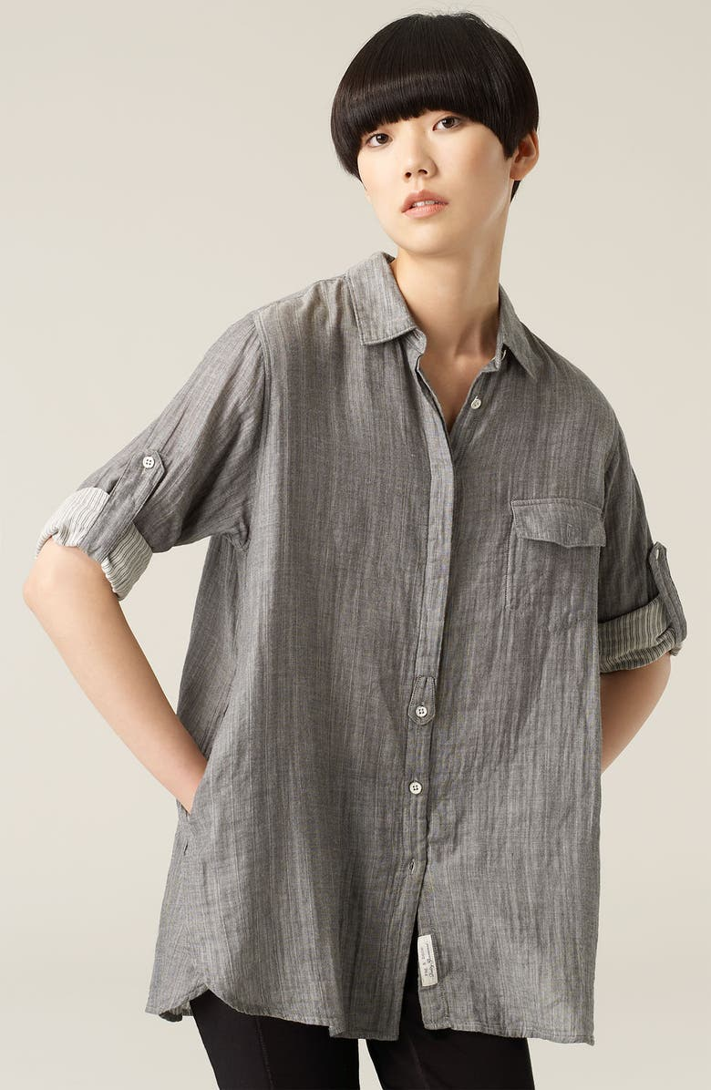 RAG & BONE Shirred Boyfriend Shirt, Main, color, 060
