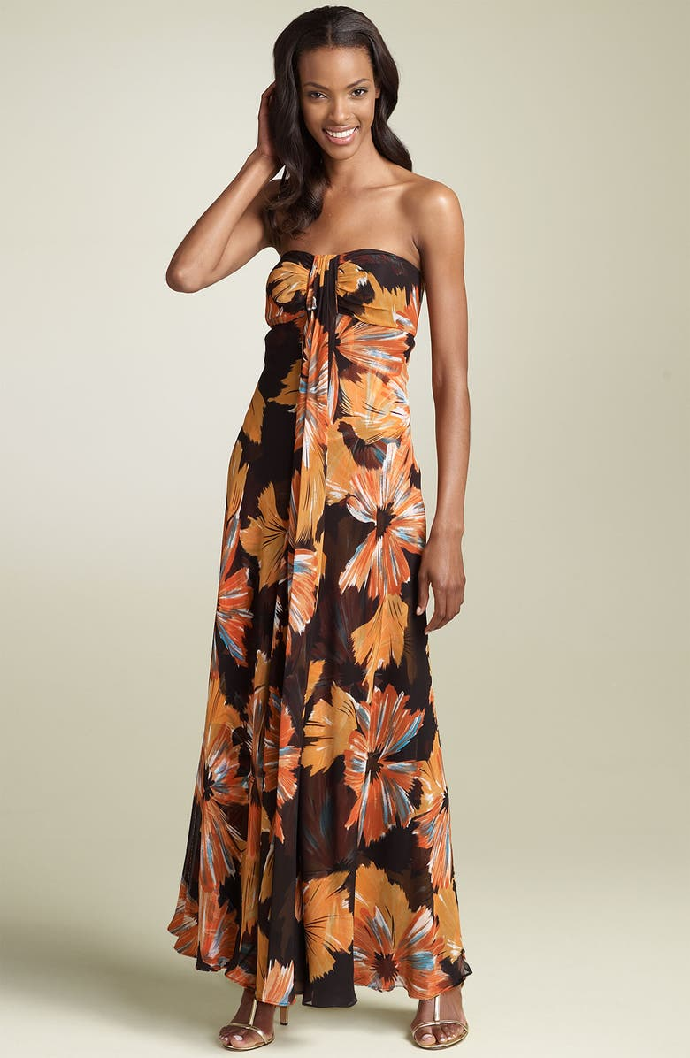 DONNA RICCO Strapless Silk Maxi Dress, Main, color, 961