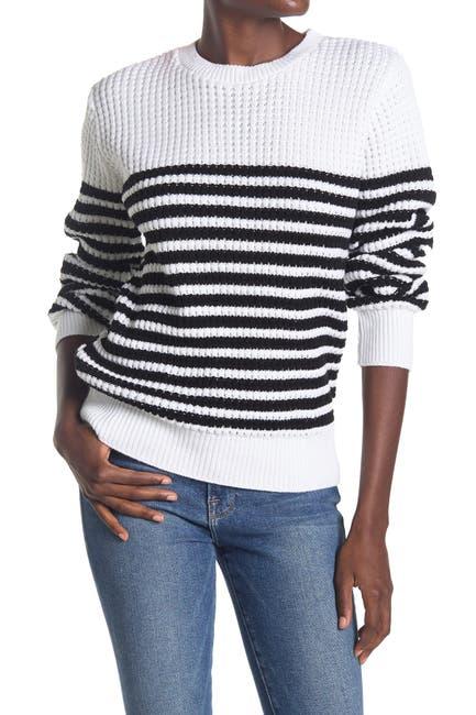 Image of Cotton Emporium Striped Waffle Stitch Pullover