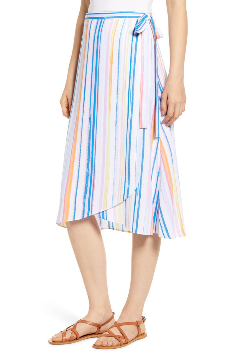 BP. Stripe Midi Wrap Skirt, Main, color, BLUE DRIFT SUMMER STRIPE