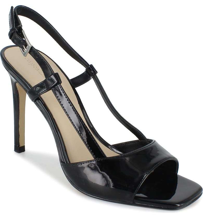 CUPCAKES AND CASHMERE Yeeva Sandal, Main, color, BLACK FAUX PATENT LEATHER