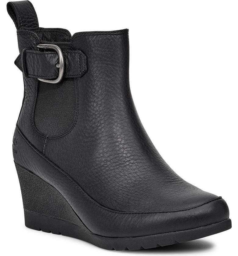 UGG<SUP>®</SUP> Arleta Wedge Bootie, Main, color, BLACK LEATHER
