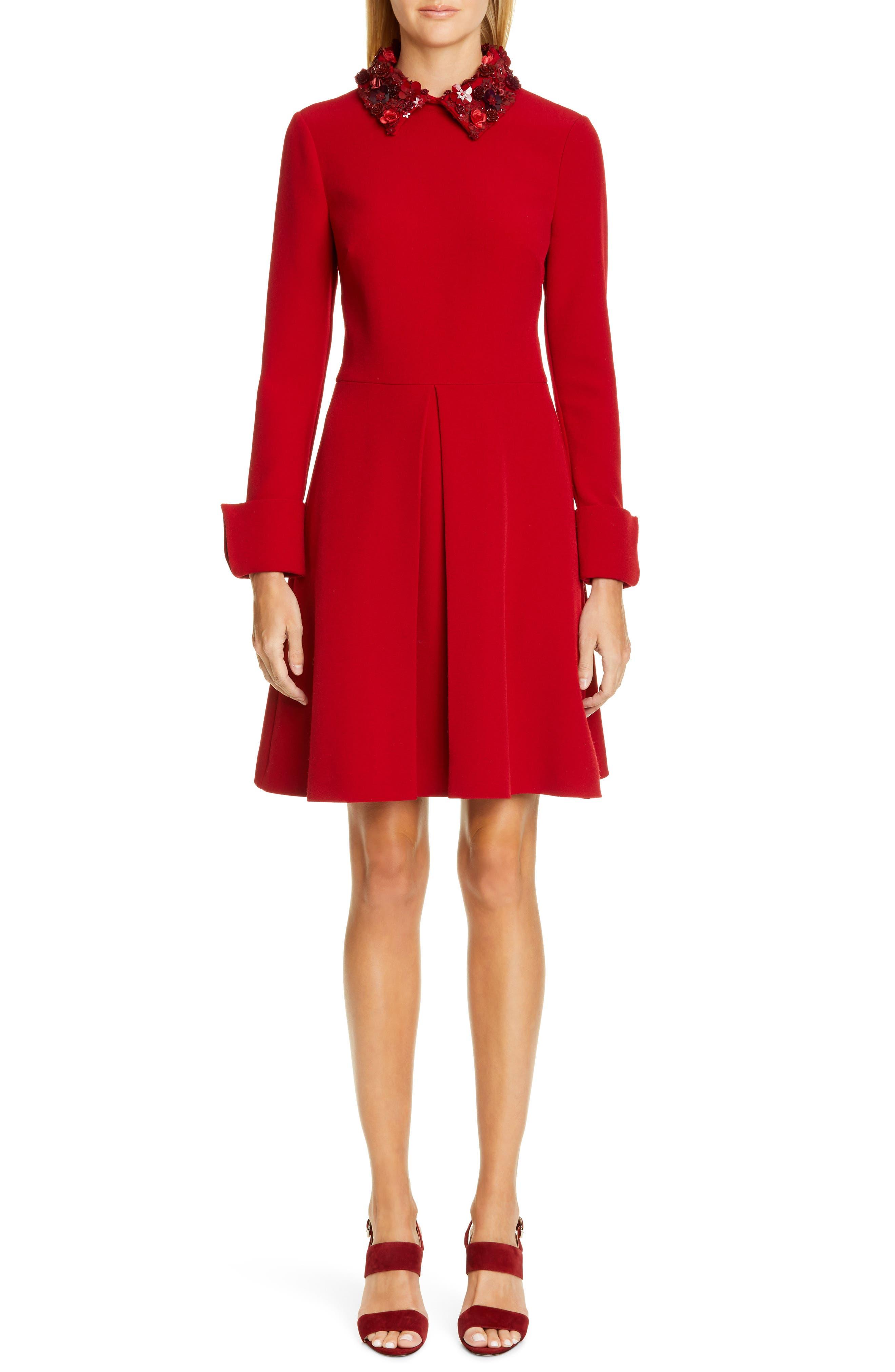 Badgley Mischka Embellished Collar Long Sleeve Cocktail Dress, Red