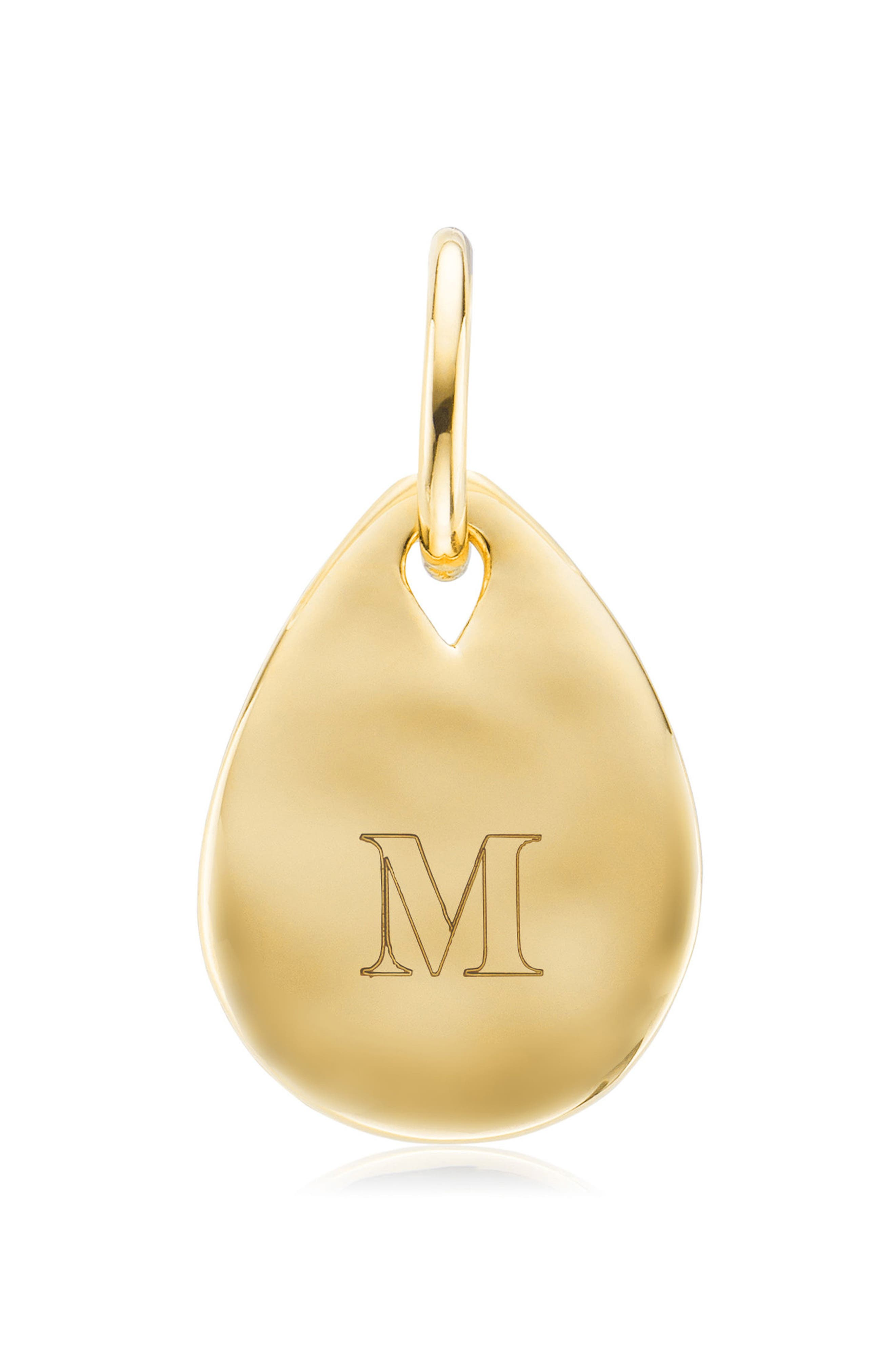 ,                             Engravable Mini Petal Teardrop Pendant Charm,                             Alternate thumbnail 3, color,                             YELLOW GOLD