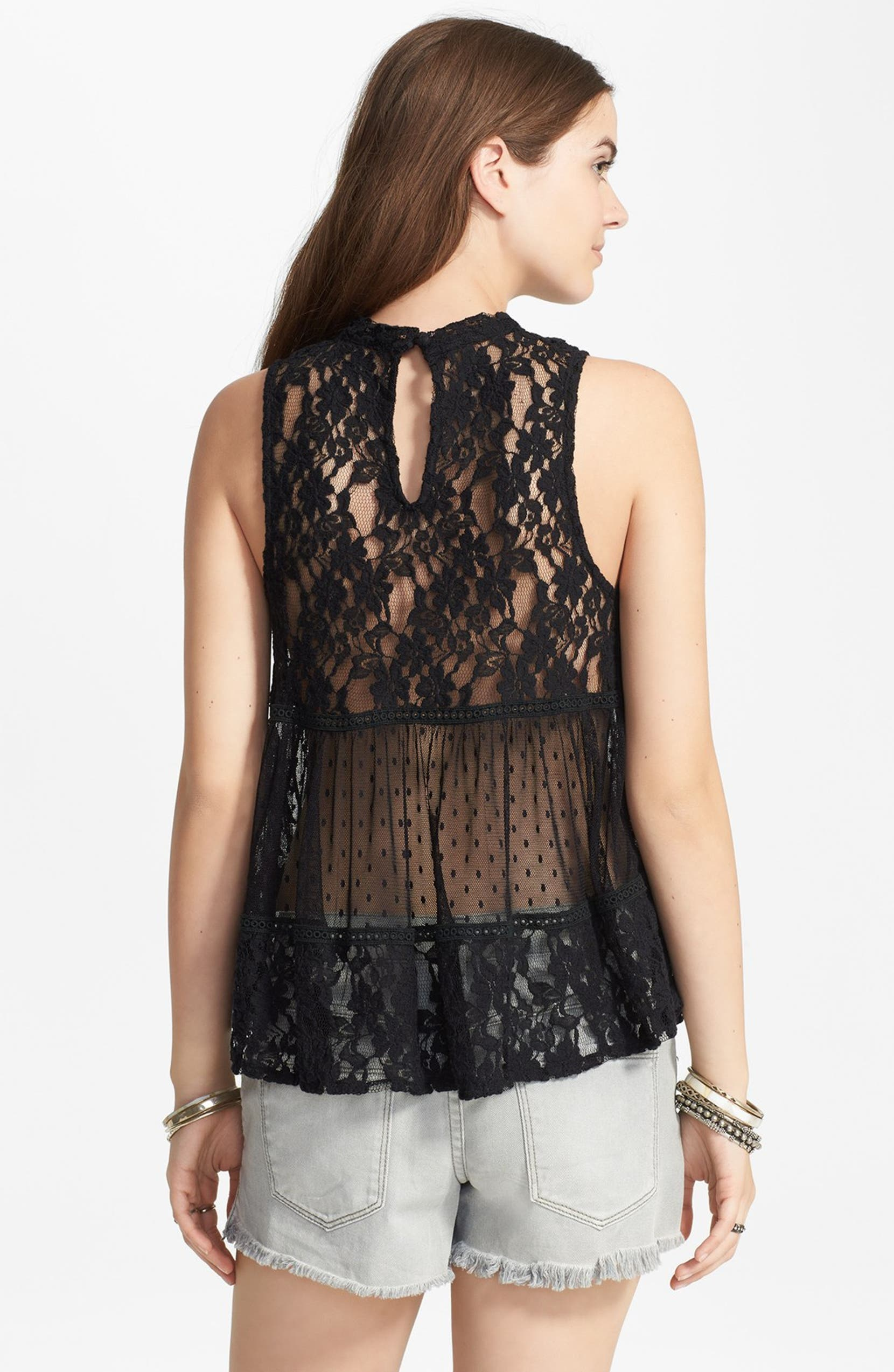 8f148b6d14fe22 Free People 'Lady Bird' Mixed Lace Tank   Nordstrom