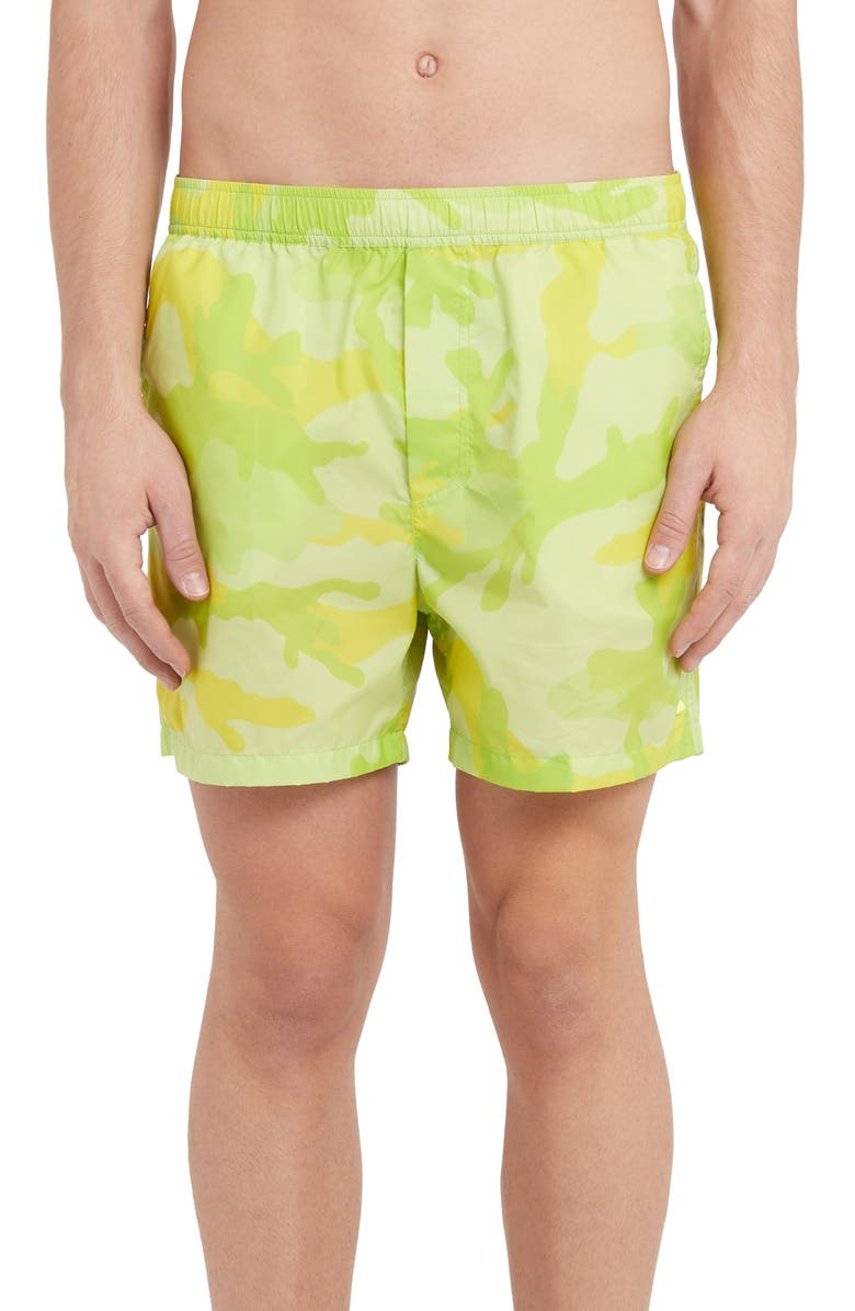 VALENTINO Camo Swim Trunks, Main, color, YELLOW MULTI