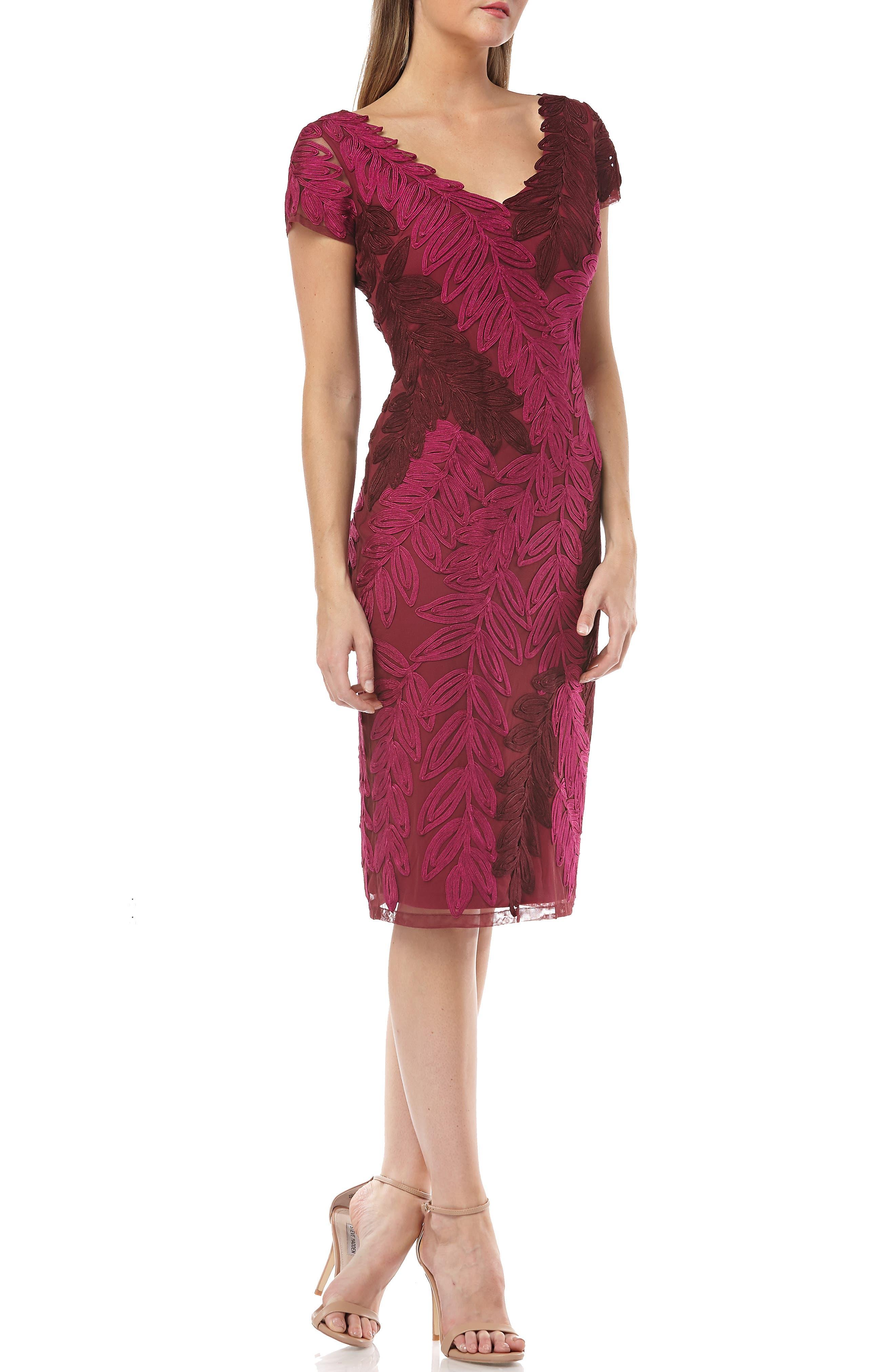 Js Collections Leaf Soutache V-Neck Sheath Dress, Pink