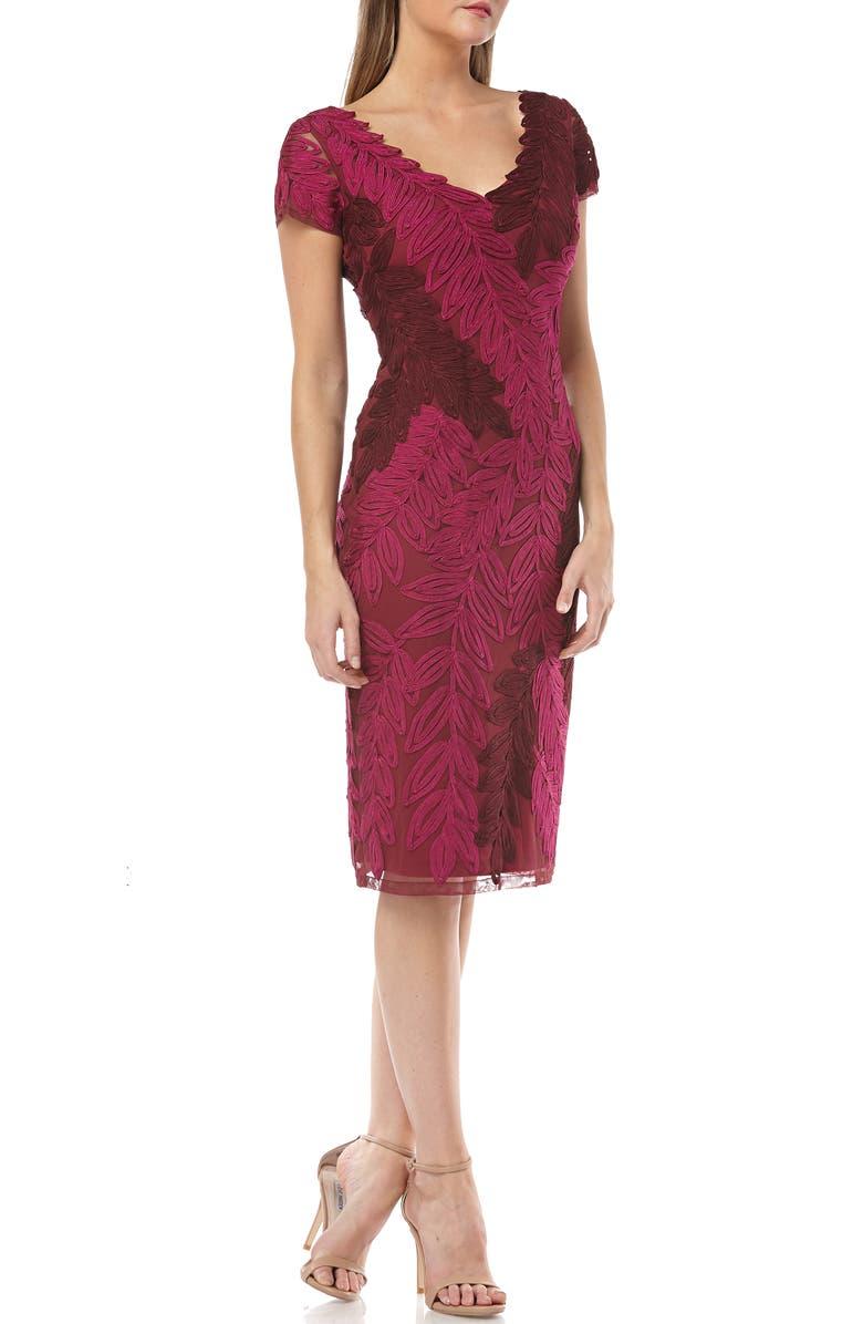 JS COLLECTIONS Leaf Soutache V-Neck Sheath Dress, Main, color, HOT PINK PLUM