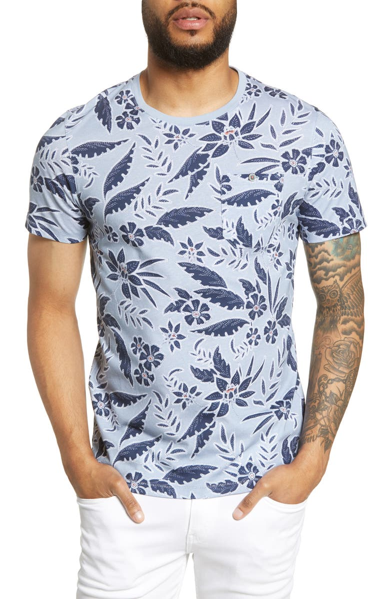 TED BAKER LONDON Recuppl Slim Fit Floral T-Shirt, Main, color, LT-BLUE