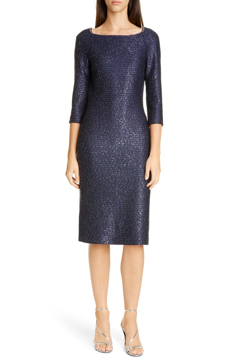 ST. JOHN EVENING Glimmering Sequin Knit Cocktail Dress, Main, color, NAVY/ SILVER