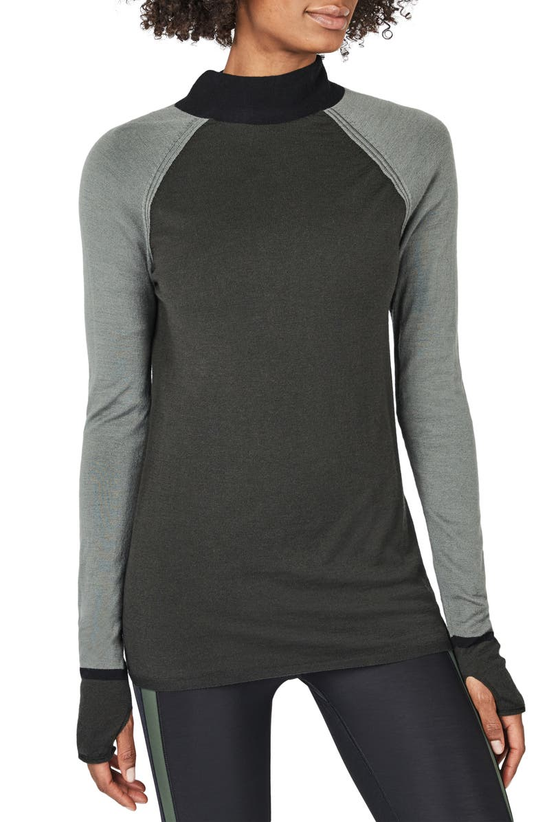 SWEATY BETTY Rebel Colorblock Mock Neck Wool Sweater, Main, color, SAGE GREEN