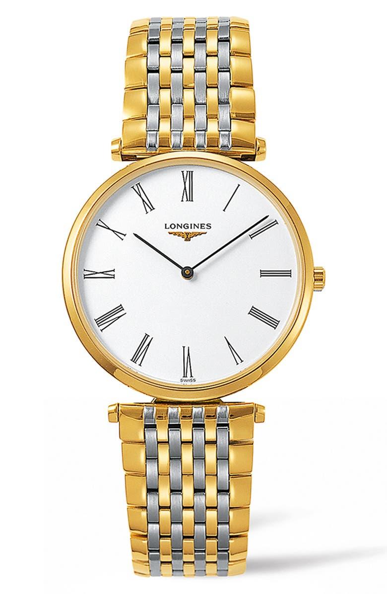 LONGINES La Grande Classique de Longines Bracelet Watch, 34mm, Main, color, SILVER/ WHITE/ GOLD